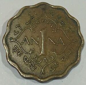 1945 British India 1 Anna Coin