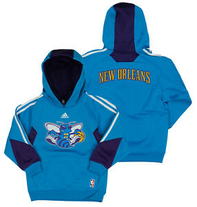 Adidas NBA Youth Boys New Orleans Hornets On Court Pullover Hoodie, Blue