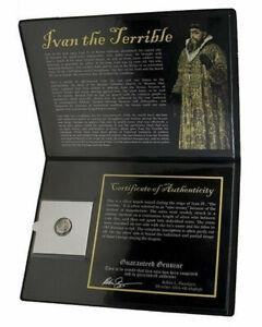 1533-1584 A.D. Russia Ivan IV The Terrible SILVER Kopek Coin SOA & Album Incl.