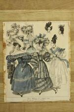 Vintage 2PC Lot Framed Art Prints 1830 Ladies Costume Morning & Evening Dress