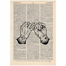 Tattoo Pinky Promise Dictionary Word Art Print OOAK, Quirky, Alternative