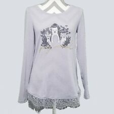LC Lauren Conrad Womens Tunic Top XS Party Animal Shirttail Lace Hem New kfp1