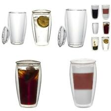 2x 400ml XL Double-Walled Thermo Glasses with Glass Lid (thermo-glass with floating -