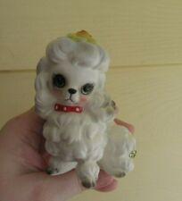 """Vintage Josef Originals Japan White Poodle Dog Figurine Flower & Labels 3.5"""""""