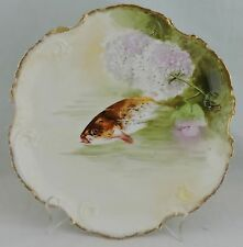 ANTIQUE LIMOGES HAND PAINTED FISH & FLOWERS PLATE SIGNED,GOLD RIMS,OLD
