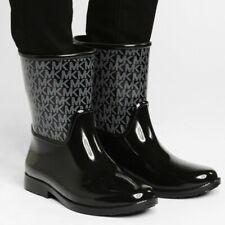 MICHAEL KORS SUTTER BLACK SILVER MK LOGO SHORT RAIN BOOTS US 8 I LOVE SHOES