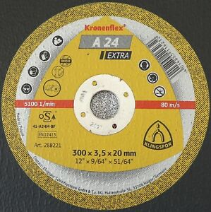 "Klingspor Kronenflex A24 Extra Large Cutting Discs 300mm x 3.5mm x 20mm / 12"""