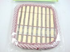 Set of 4 serving Glass Burgundy Beige Bamboo Coasters Fabric Lining New