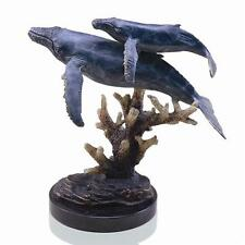 Solid Brass Humpback Whales Hot Patina Finish Gallery Sculpture on Marble Base