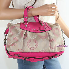 NWT Coach Ashley OP Art Dotted Signature Satchel Shoulder Bag F20027 Khaki Pink