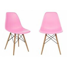Set of 2 Eames Style DSW Molded Pink Plastic Shell Chair with Wood Eiffel Legs