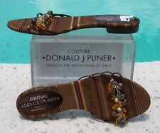 Donald Pliner Couture Jewels Flat Charms Shoe Sandal New 7.5 Silk Expresso $225