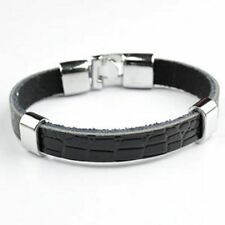 Lederbandkette schwarz Beadsperle
