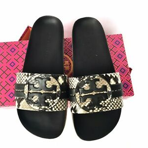 New In Box TORY BURCH LEIGH SLIDE LEATHER SANDALS WARM ROCCIA SIZE 7