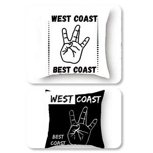 'West Coast Best Coast' Polyester Square Double sided Pillow Case + Insert