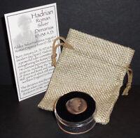 Roman Silver Denarius Hadrian 117-138 AD. Ancient Roman Coin with Case & Pouch