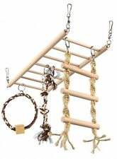 RAT TOY CHINCHILLA TOY Suspension Bridge Ladder Rope Ring Wood & Rope 35x15cm