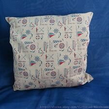 US Seller-sailing boat vintage retro cotton linen cushion cover washable throw