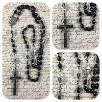 Vintage Memento Mori Skull Rosary Italy