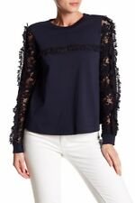NEW See by Chloe Embroidered Sleeve Jersey Blouse in Navy - Size 40