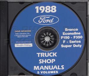 1988 Ford Truck Shop Manual 5 Book Set on CD F150 F250 F350 Bronco Van Service