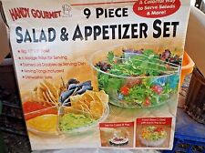9 piece Salad & Appetizer Set-cakes & pies,Can put ice in bottom /SERVING TONGS
