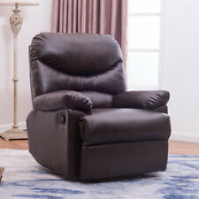 Brown Coffee Leather Upholstered Recliner Chair Home Living Room Furniture Den