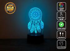Dreamcatcher Mandala Tapetry 3D Acrylic LED 7 Colour Night Light Touch Lamp