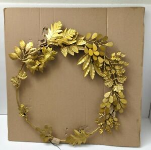 Gold Metal Wreath with Flowers and Leaves