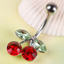 Pretty Rhinestone Red Cherry Navel Belly Button Barbell Ring Body Piercing CC