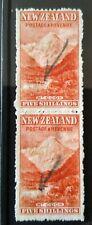 New Zealand 1898 Pictorials 5/- Mt Cook rare vertical pair