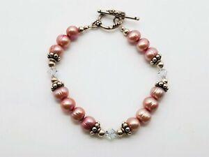 "925 Silver Clasp Crystal/Pink Pearl 8"" Beaded Bracelet 17.35g MRJ779"