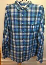 COUNTRY ROAD Blue Yellow Check Long Sleeve Linen Cotton Long Sleeve Shirt XL