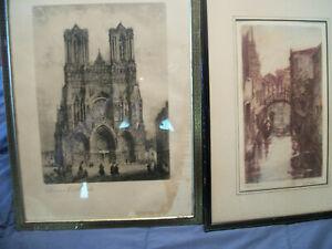 Lot of 2 Older/Vintage? Framed Prints Venice Canal & Rheims Cathedral