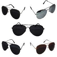Metal Frame Classic Sunglasses Mens Ladies Womens Vintage Retro Mirrored Black