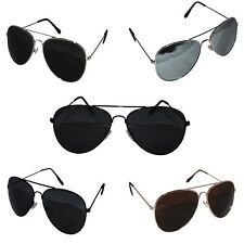 Metal Frame Classic Sunglasses Mens Ladies Womens Vintage Retro Mirrored Black