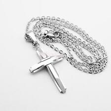Silver Stainless Steel Cross Pendant Prayer Necklace with Chain Gift #D