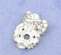 300 Versilbert Klar Strass Rondelle Spacer Beads 8mm