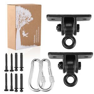 2 Packs Black Fityou Aluminum 2-Bearing Heavy Duty Swing Hanger Powder Coated Swing Set Kit for Yoga Seat Indoor Outdoor Plaground Porch Sets Comes with Screws Hook and Installation Sticker