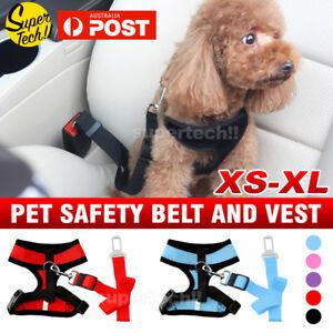 Dog Puppy Soft Mesh Vest Adjustable Harness Braces & Car Seat Belt Leash Lead