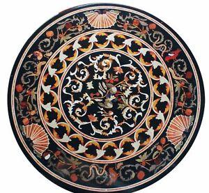 Black Marble Dining Table Top Semi Precious Floral Inlay Art Handmade Home Decor