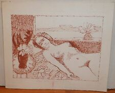 Sleeping Nude Woman With Plants Red Ink Drawing-1960s-August Mosca
