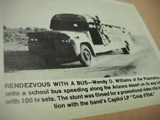 WENDY O. WILLIAMS of PLASMATICS hangs on bus 1982 music biz promo pic with text