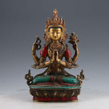 Tibet Bronze gilt turquoise Hand-painted Carved Four arms Tara Buddha Statue