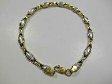 "Unique Heavy Yellow & White Gold Stampato Link Bracelet 7.25"" 5g Beautiful"
