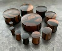 PAIR Ebony Wood Plugs Convex Saddle Double Flare Organic Tunnels Earlets Gauges