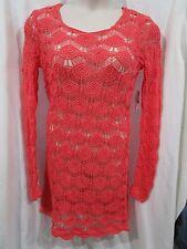 Coral Coloured, Soft Crochet Dress, Long Sl, Scalloped Edges, Size M (12), NEW
