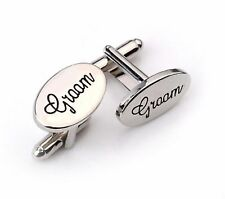Groom Silver Tone Wedding Cufflinks Cuff links Bride Groom UK Seller Oval
