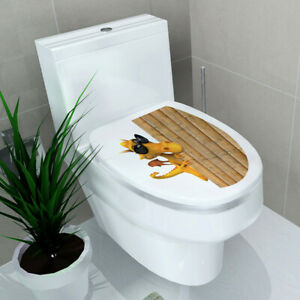 Bathroom Cover Toilet Stickers Decal Home 3D Mural Wall DIY Lid Seats