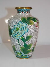 """Vintage Chinese Cloisonne Blue Pink Floral White Small 5"""" Vase"""